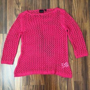 Tribal Women's Pink Woven Knit Shirt Size S